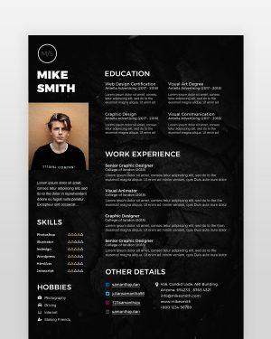 Black Designer Resume Template - by printableresumes.com