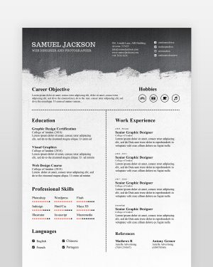 Black and White Resume Template - by printableresumes.com