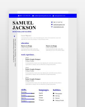 Blue Designer Resume Template - by printableresumes.com
