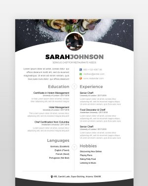 Cheff Resume Template - by printableresumes.com