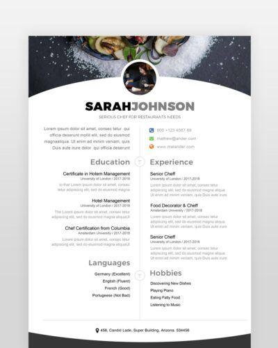 Cheff Resume Template - by printableresumes.com