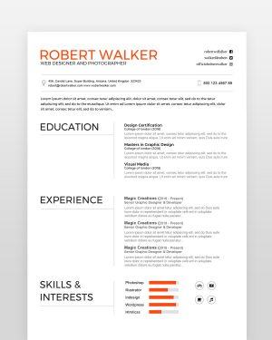 Clean Graphic Designer Resume - by printableresumes.com