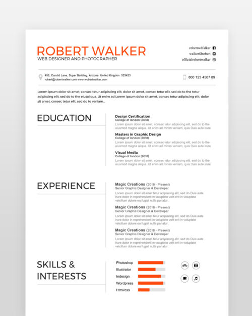 Clean Graphic Designer Resume