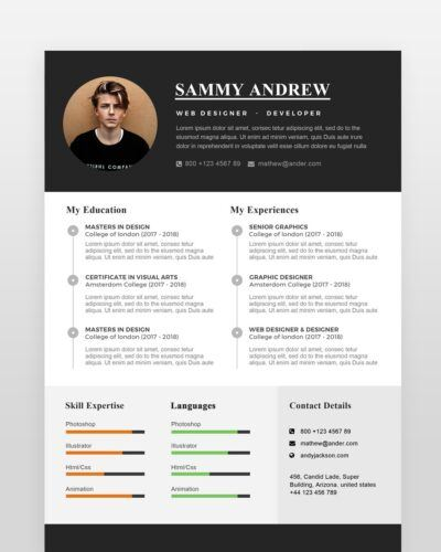 Clean One Page Resume Template - by printableresumes.com