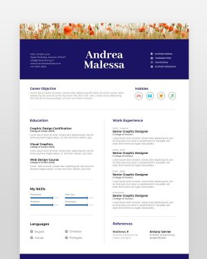 Colorful Floral Resume Template - by printableresumes.com