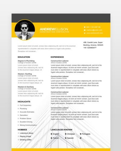 Construction Resume Template - by printableresumes.com