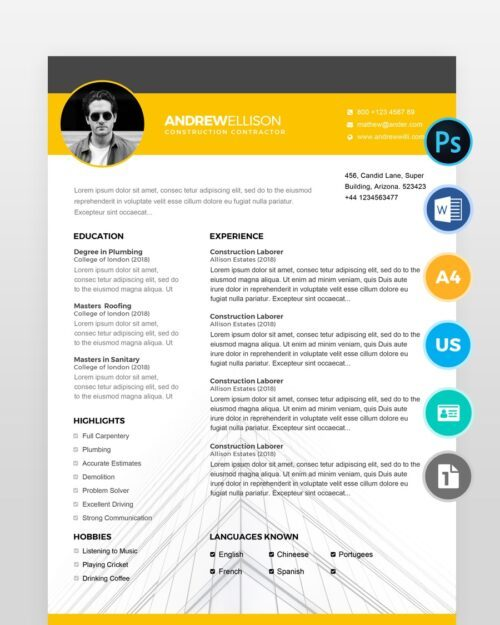 Construction-Resume-Template2 - by printableresumes.com