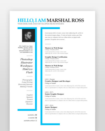 Creative One Page Designer Resume - by printableresumes.com