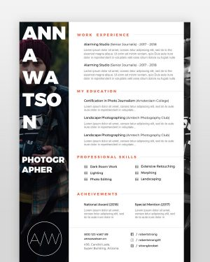 Creative Photographer Resume - by printableresumes.com