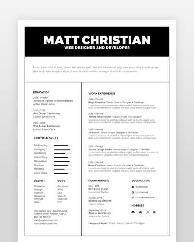 Generic Resume Template - by printableresumes.com