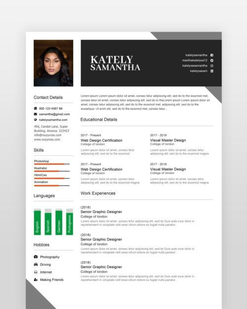 Girl Designer Resume Template - by printableresumes.com