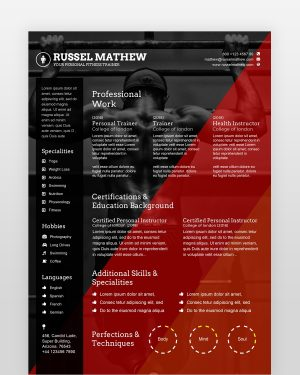Gym Trainer Resume Template - by printableresumes.com