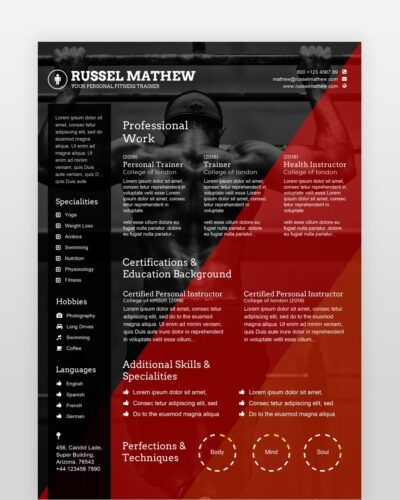 Gym Trainer Resume Template