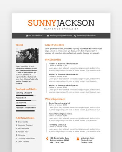 Marketing Resume Template - by printableresumes.com