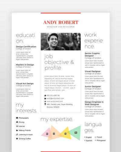 Minimal Designer Resume Template - by printableresumes.com