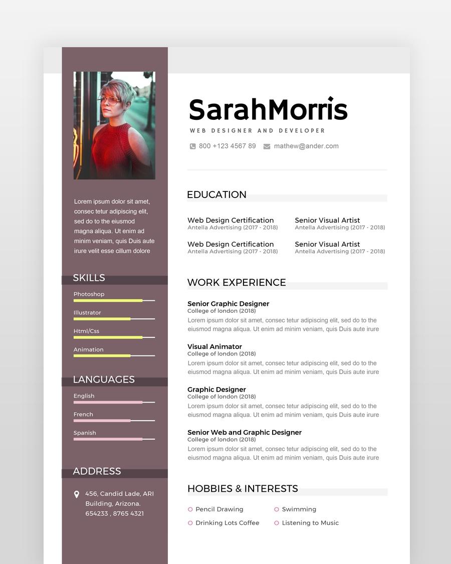Modern Designer Resume Template - by printableresumes.com