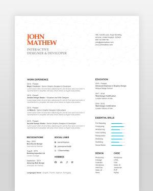 Modern Graphic Designer Resume - by printableresumes.com