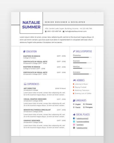 Modern Simple Resume Template - by printableresumes.com