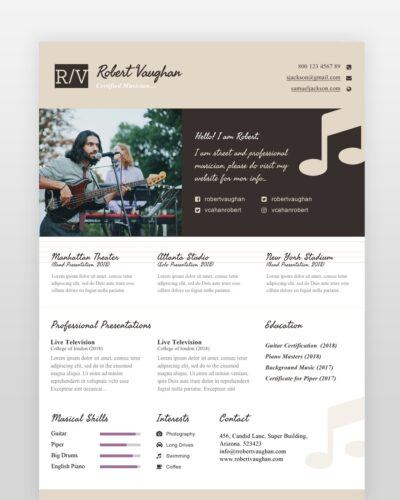 Musician Resume Template - by printableresumes.com