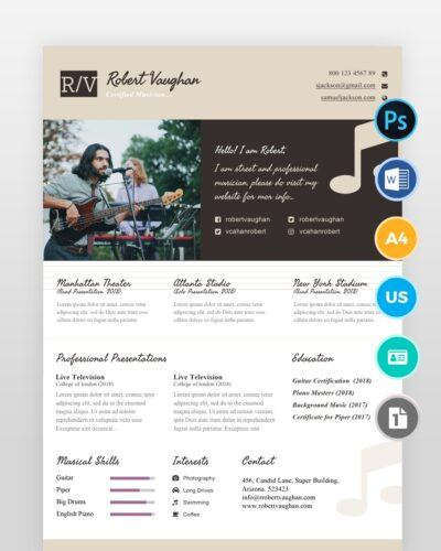Musician-Resume-Template2 - by printableresumes.com