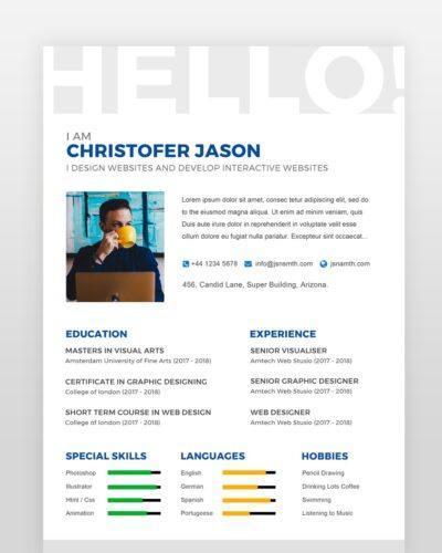 One Page Designer Resume - by printableresumes.com