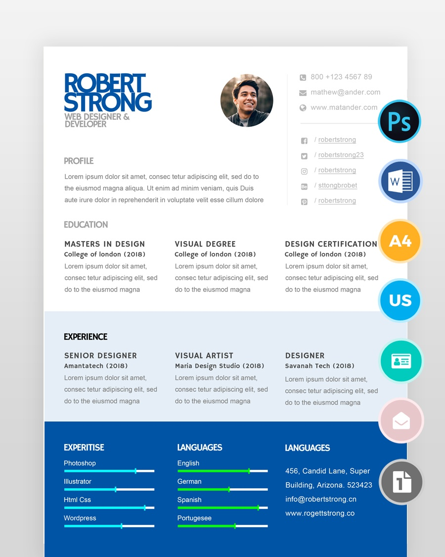 One Page Designer Resume - by printableresumes.com