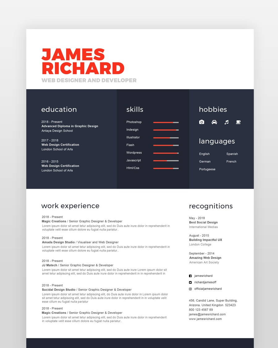 Simple Clean Designer Resume - by printableresumes.com