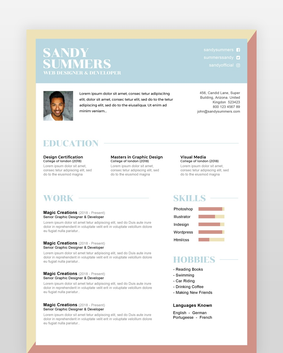Simple Creative Designer Resume - by printableresumes.com