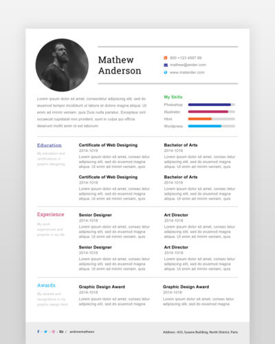 One Page Resume Template - by printableresumes.com