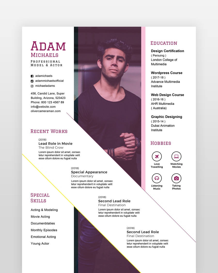 Actor Model Resume - by printableresumes.com