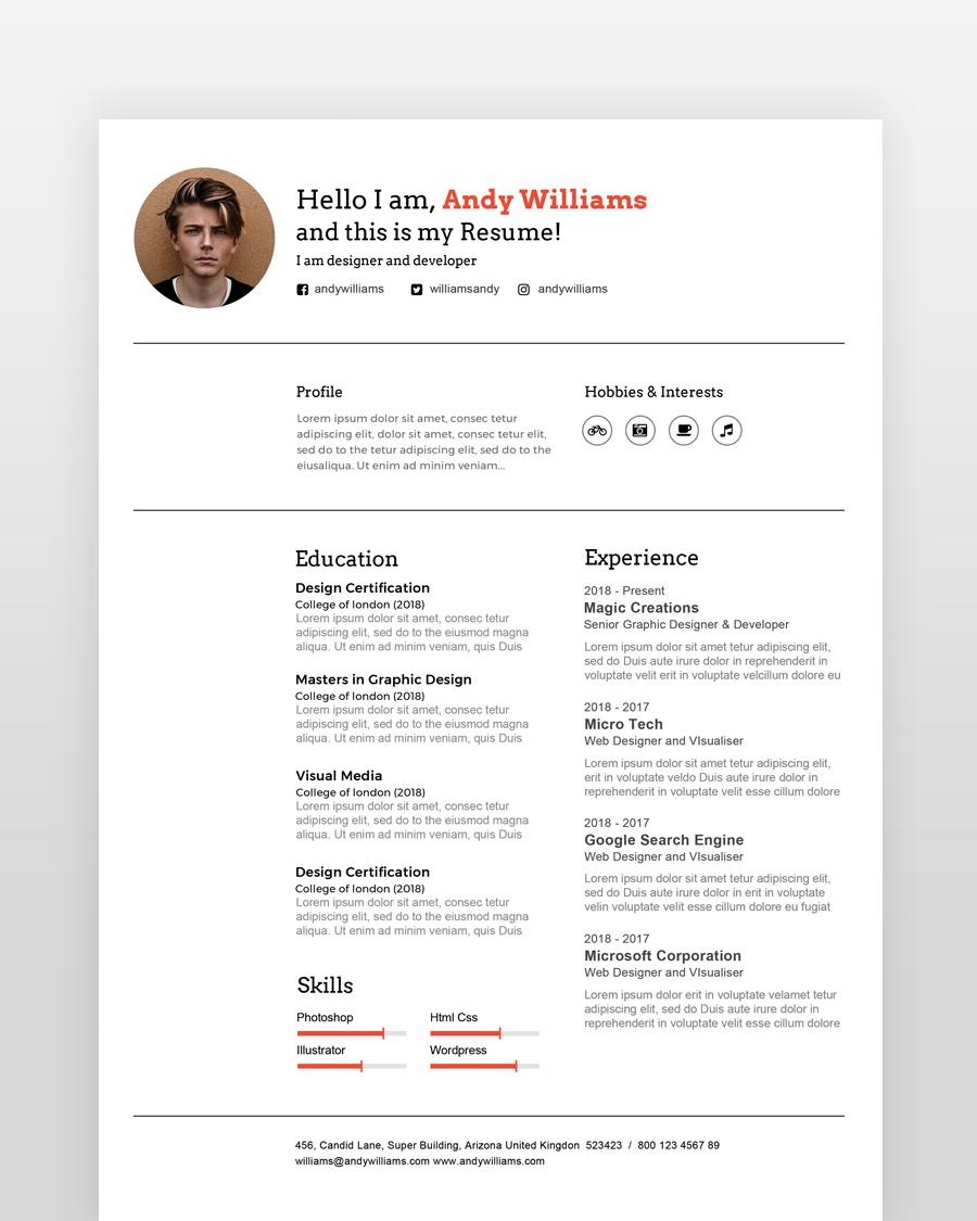 Clean Professional Designer Resume - by printableresumes.com