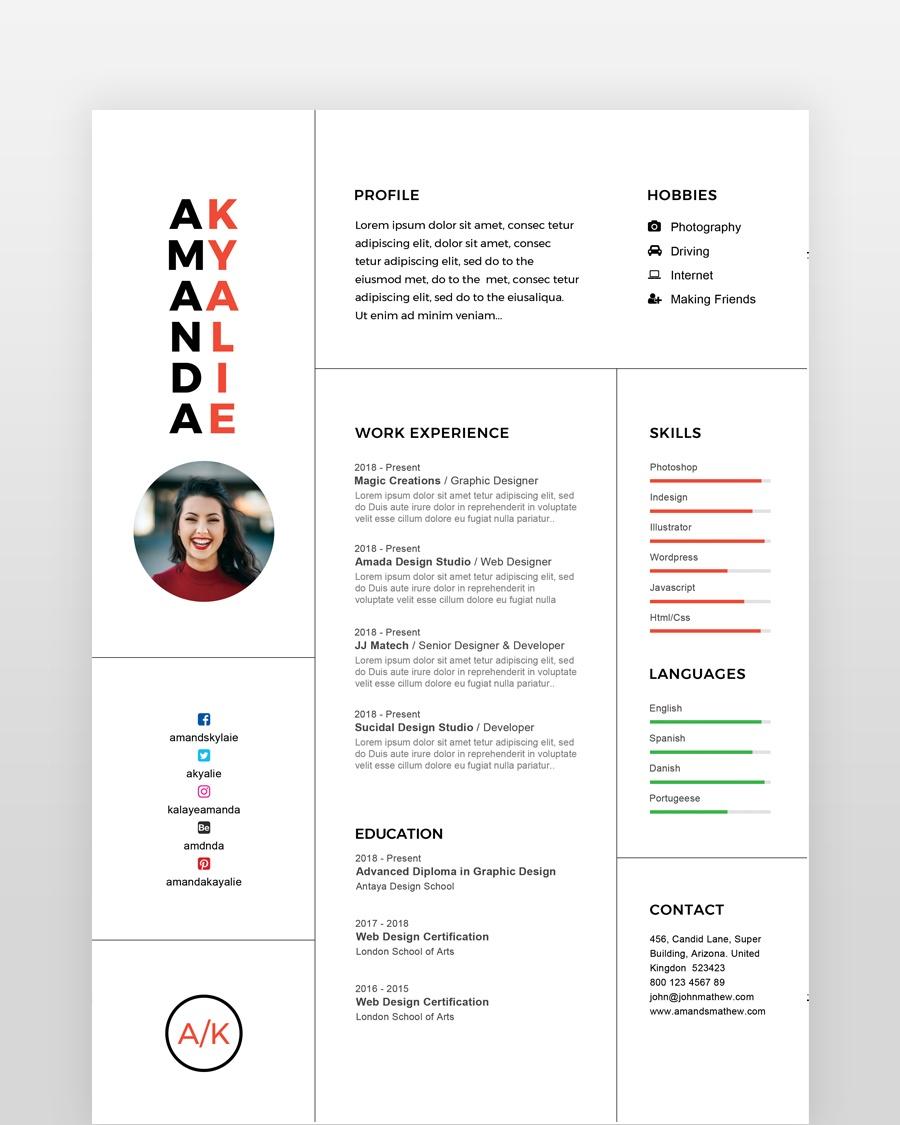 Clean Professional Minimal Resume - by printableresumes.com