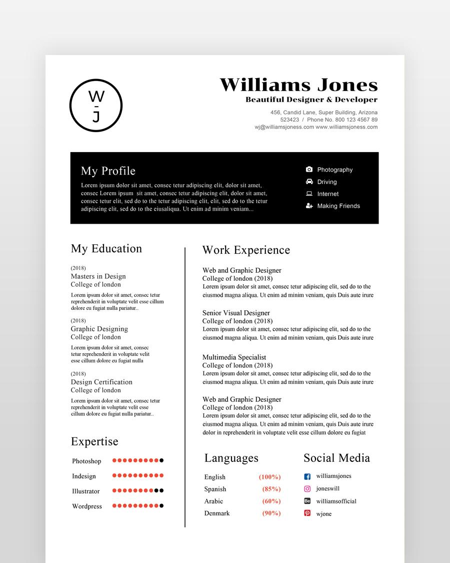 Corporate Minimal Resume Template - by printableresumes.com