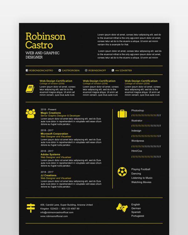 Single Page Designer Resume - by printableresumes.com
