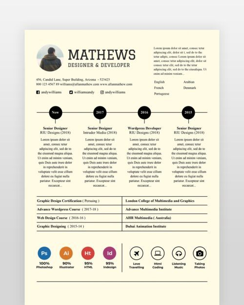 Experienced Designer Resume Template - by printableresumes.com