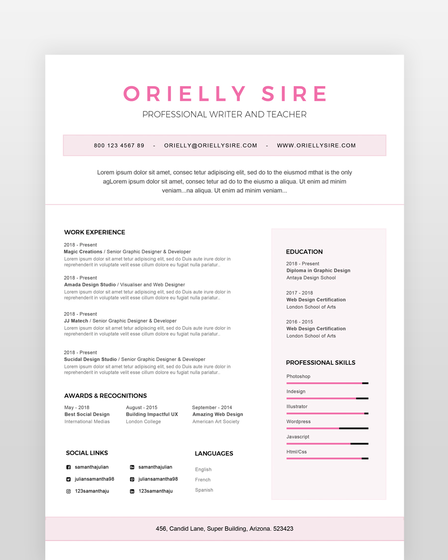 Girly Web Designer Resume Template - by printableresumes.com