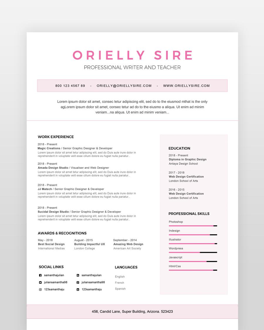 Girly Web Designer Resume Template Printableresumes Com