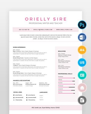 Girly-Web-Designer-Resume-Template - by printableresumes.com