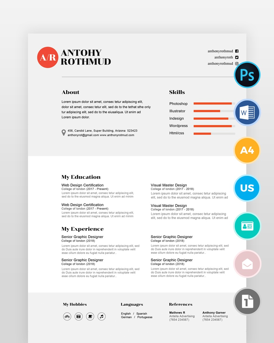Minimal-Professional-Designer- - by printableresumes.com