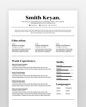 Minimal Professional Resume - by printableresumes.com