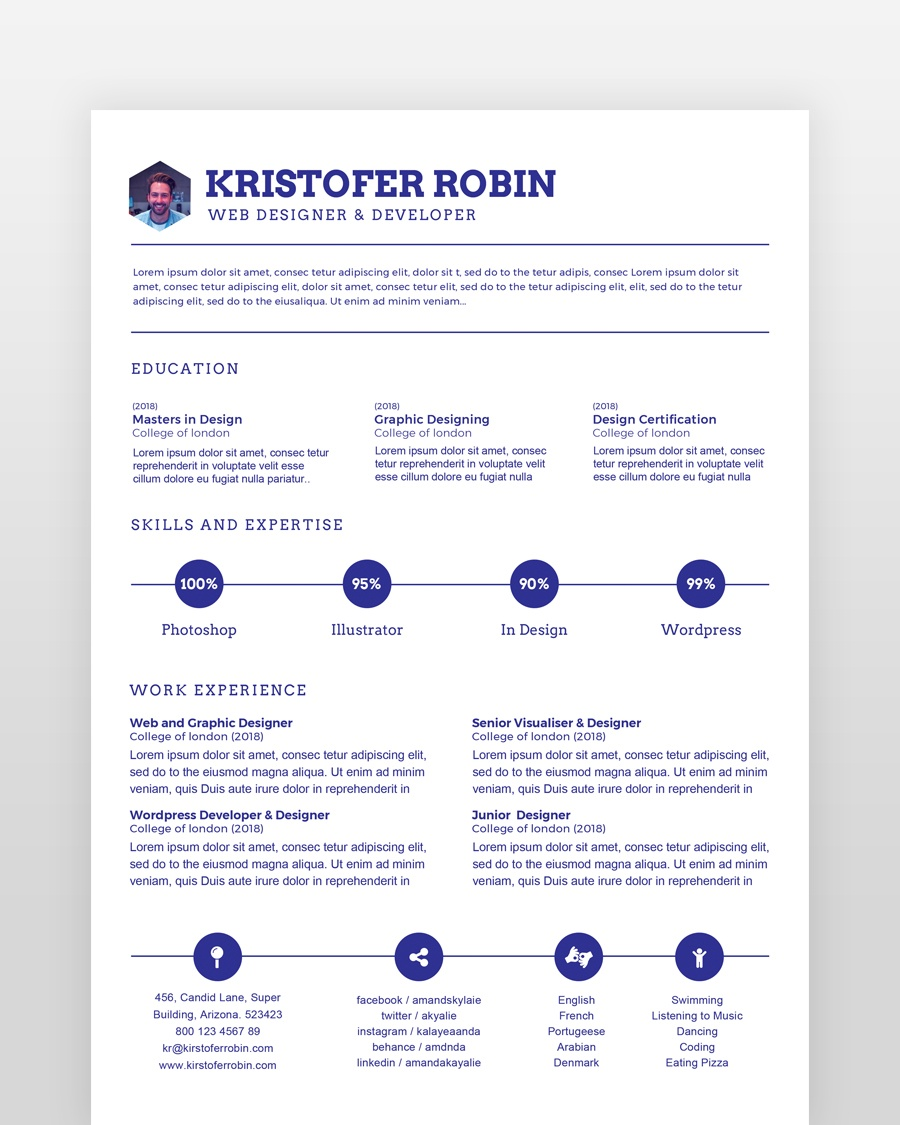 Minimal Resume Single Page - by printableresumes.com