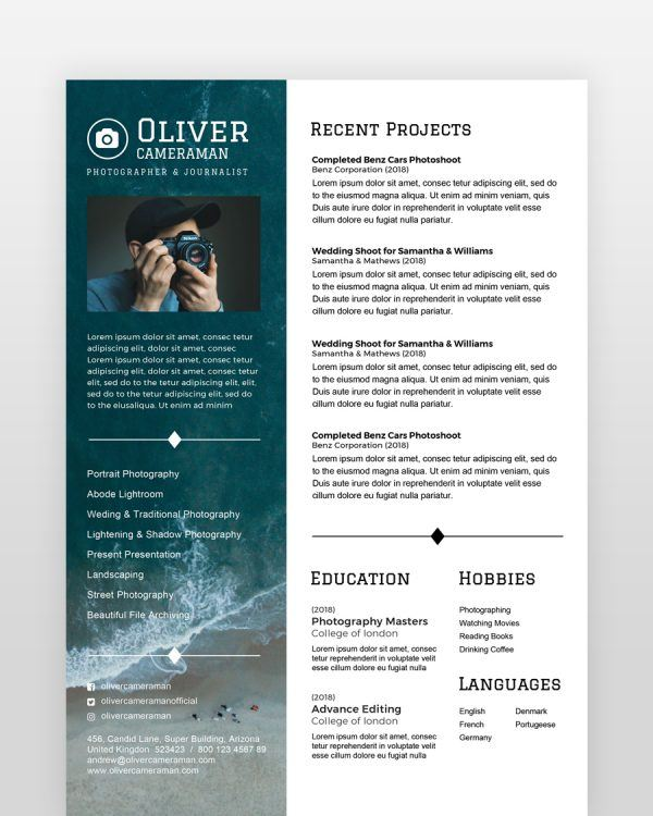 Professional Photographer Resume - by printableresumes.com