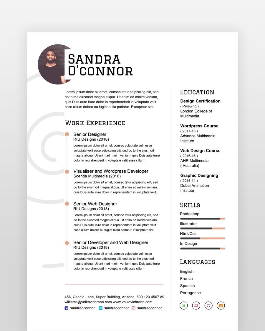 Simple Clean and Minimal Resume - by printableresumes.com