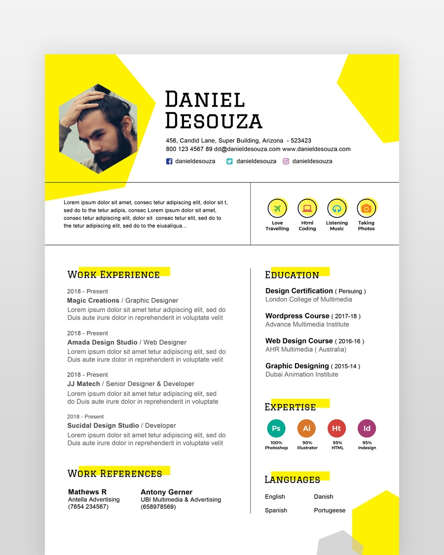 Simple Designer Resume Template - by printableresumes.com