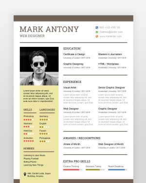 Simple Web Designer Resume - by printableresumes.com