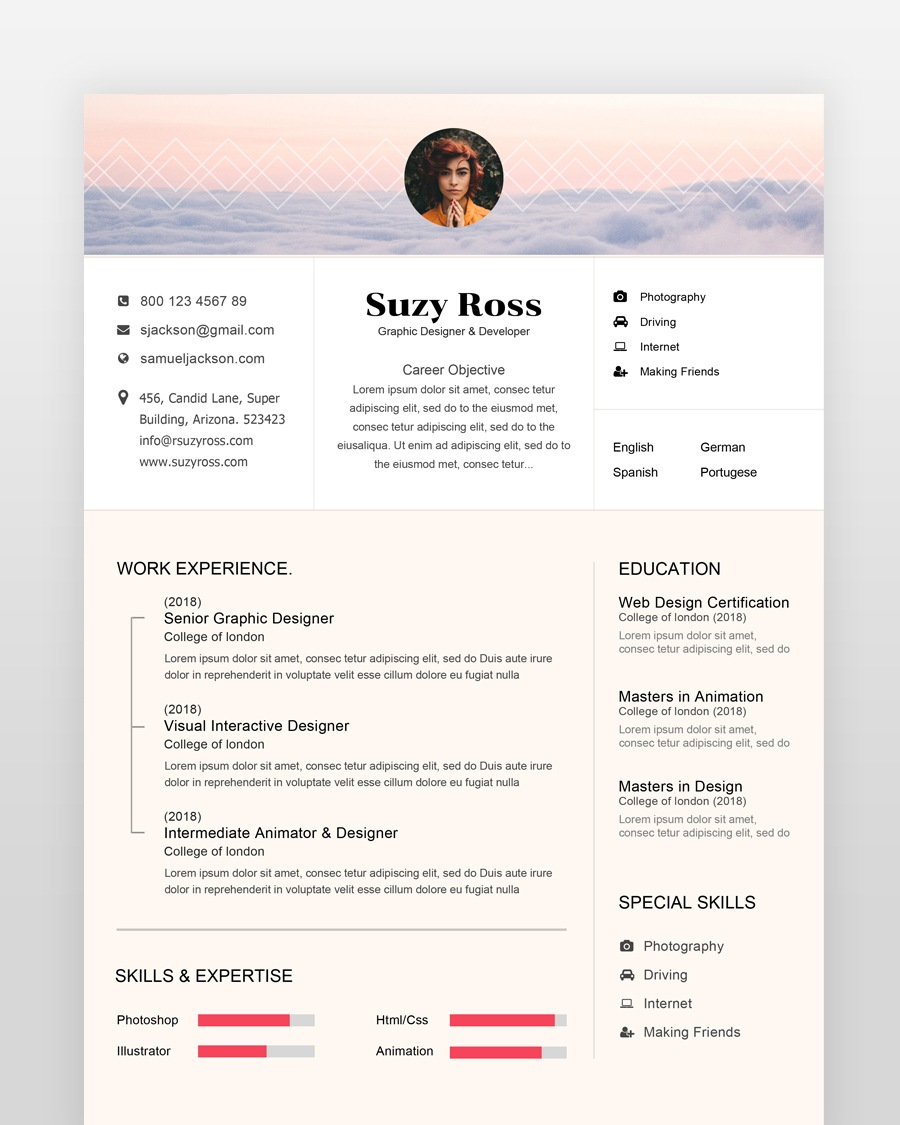 Blogger Resume Template - by printableresumes.com