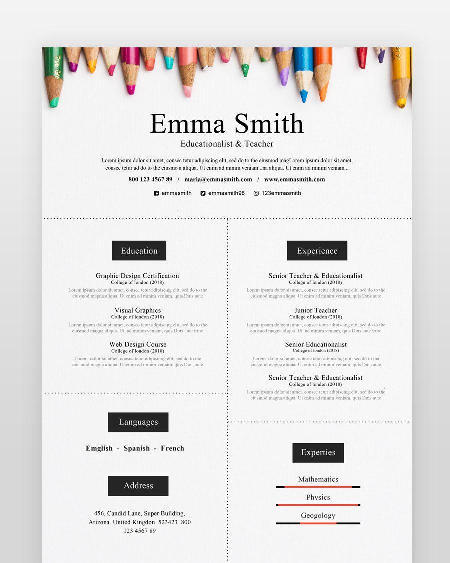 Teacher Resume Template - by printableresumes.com