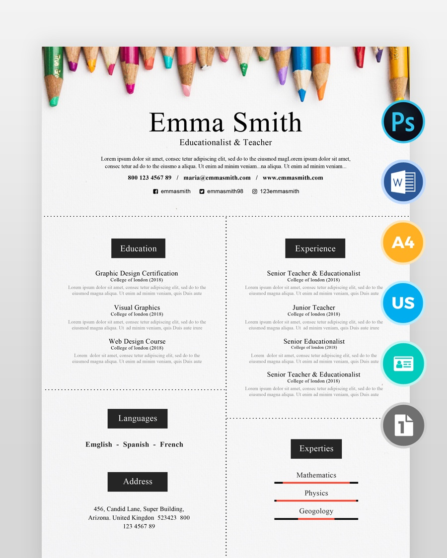 Teacher-Resume-Template_2 - by printableresumes.com