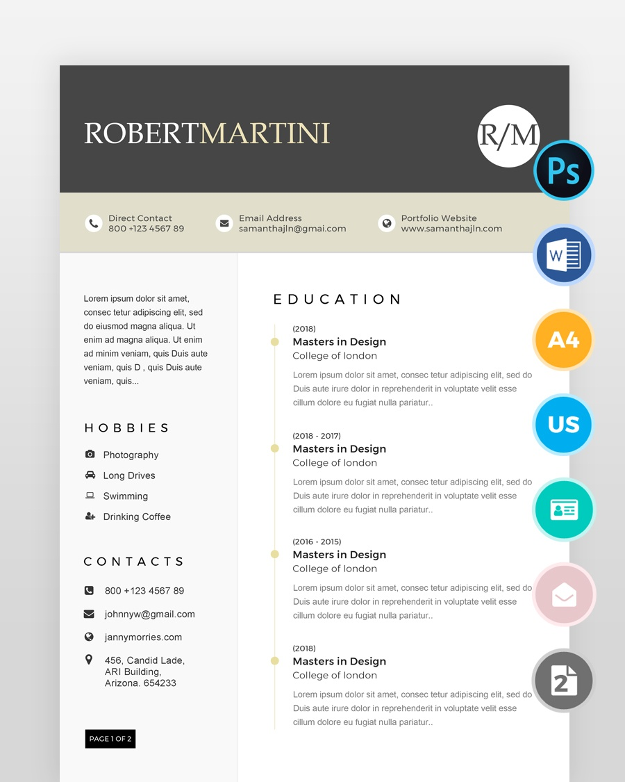 Two-Page-Modern-Resume - by printableresumes.com