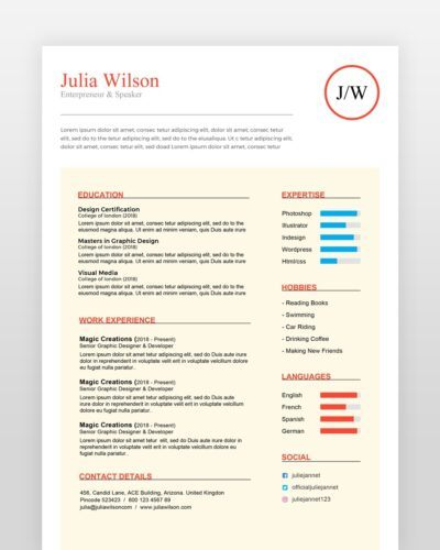 Multipurpose Resume Template - by printableresumes.com